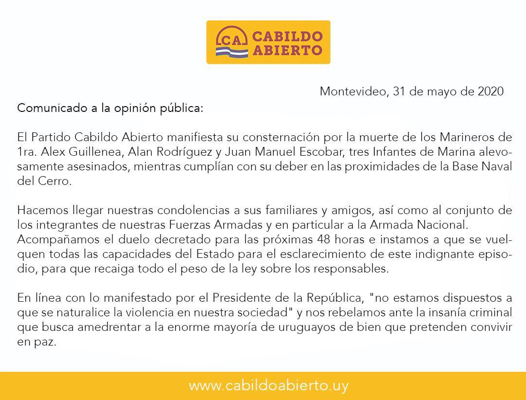 Comunicado a la opinión publica de Cabildo Abierto ante la muerte ...